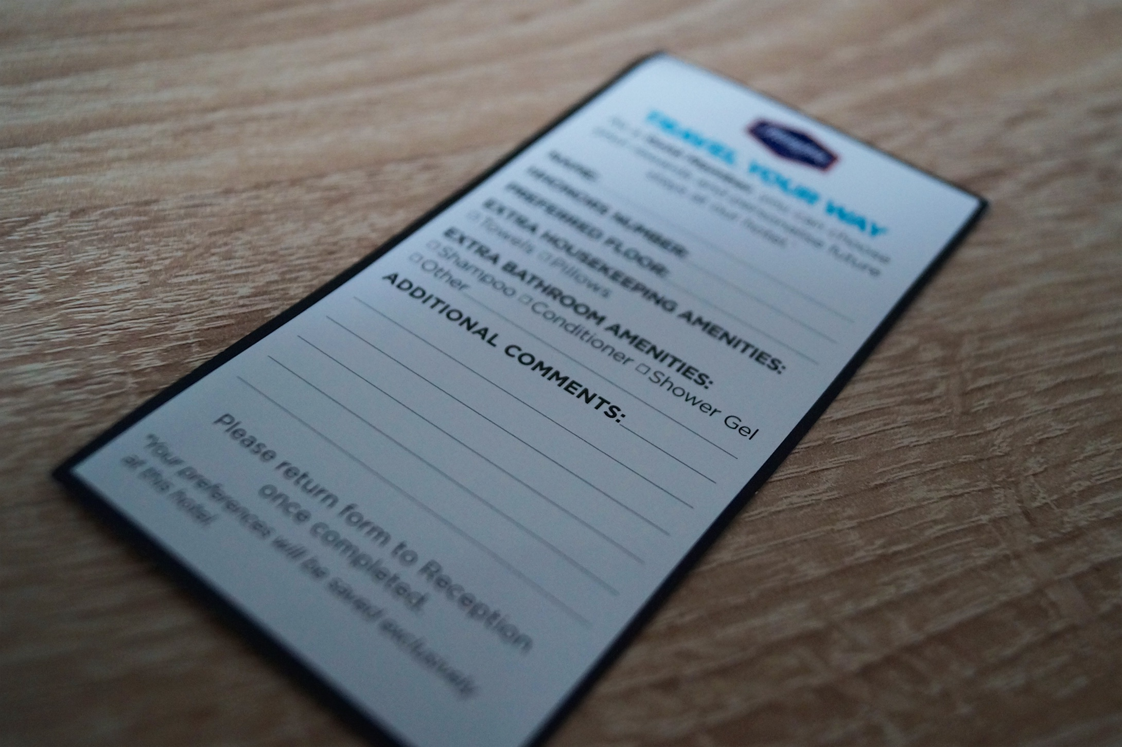 Hampton Glasgow Guest Preferences Card