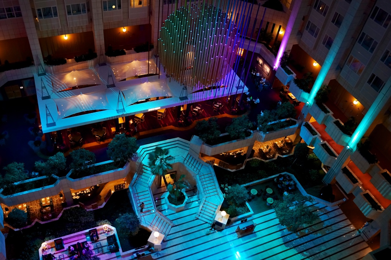 Hilton Prague Atrium Night Time View