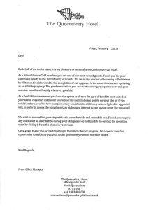 Doubletree Edinburgh Queensferry Crossing Hotel HHonors Benefits
