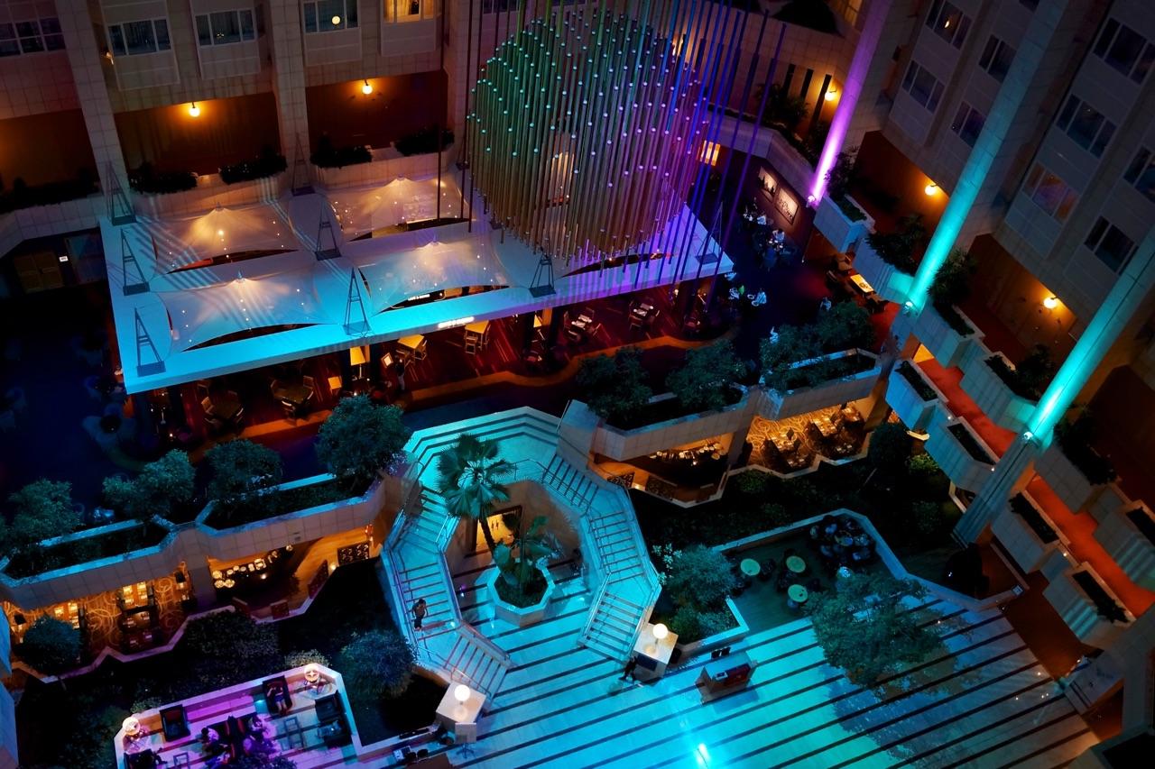 Hilton Prague Atrium Night Time View